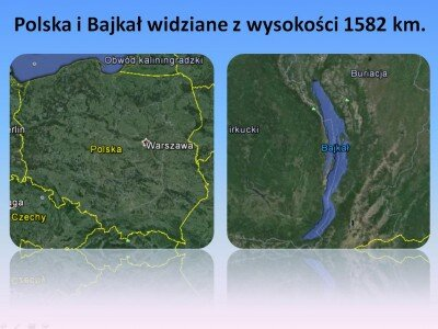 Polska i Bajkał widziane z wysokości 1582 km.; źródło: Google Earth